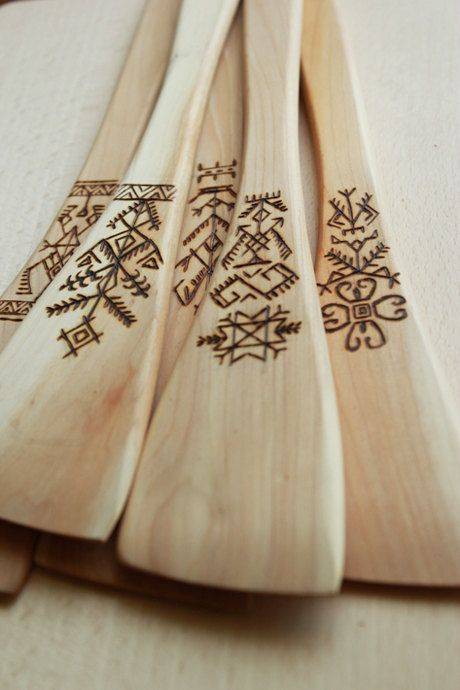 Wooden spatula with burned ornaments by Regina Borovska buy here http://www.etsy.com/shop/FirePaintings #latvian #ornaments #wooden #spatula #pyrography #woodburning #burning