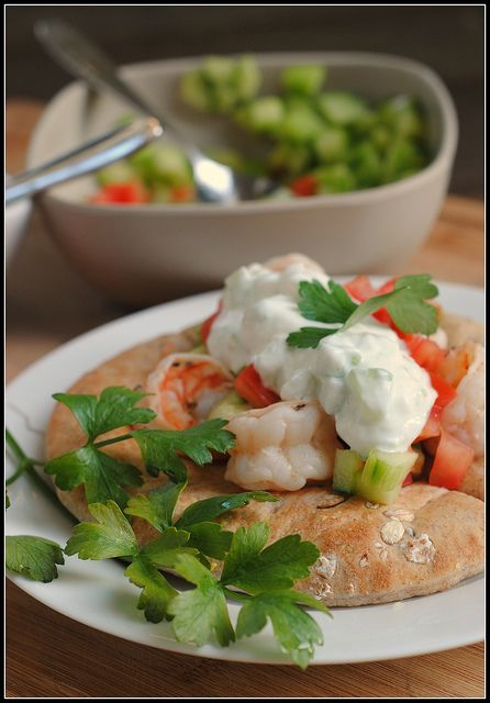 Shrimp Gyros with Tzatiki Sauce | via Prevention RD