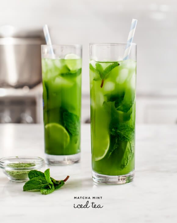 Matcha Mint Iced Tea: 2 cups water, 2 tsp Matcha, 2 cups crushed ice, 1 lime sliced, handfuls of mint, honey/cane sugar/minty simple syrup