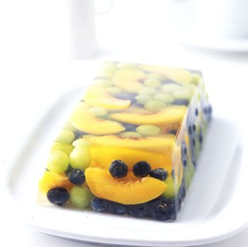 Prosecco and Summer Fruit Terrine    (I use sparkling white grape juice instead, & add raspberries & mint.  A wonderful & playful dish for Christmas dinner.)