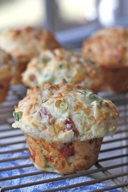 Ham Scallion and Cheddar Muffins...A great way to use up leftover holiday ham. A hearty but not too heavy muffin filled with scallions, cheddar cheese and ham.
