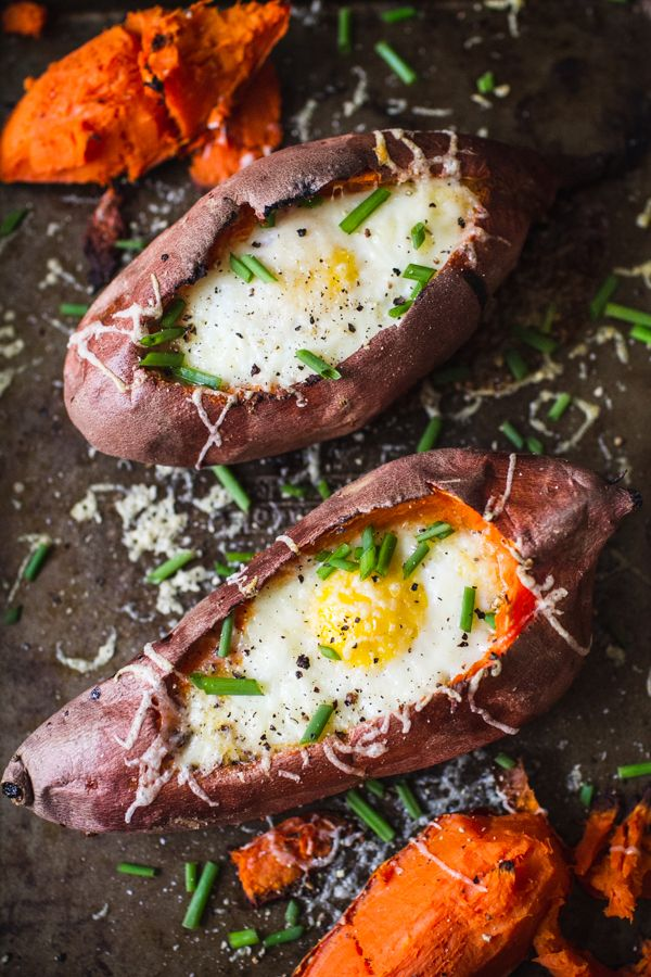 A Healthier Baked Potato: A Recipe for Sweet Potato Egg Boats