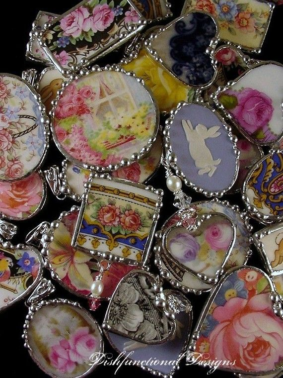 this is cool..I am sure we all have broken pieces of old china.. what a great idea to do with your favorite plates.