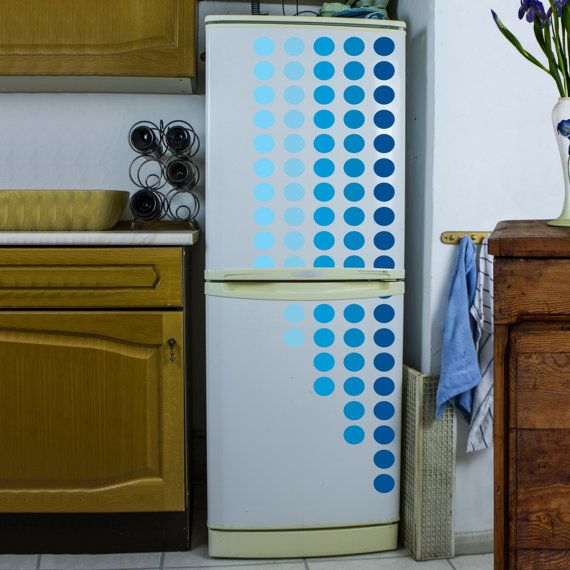Dotted Lines Vinyl Refrigerator Decal | This is a cool idea, I never thought to do this.