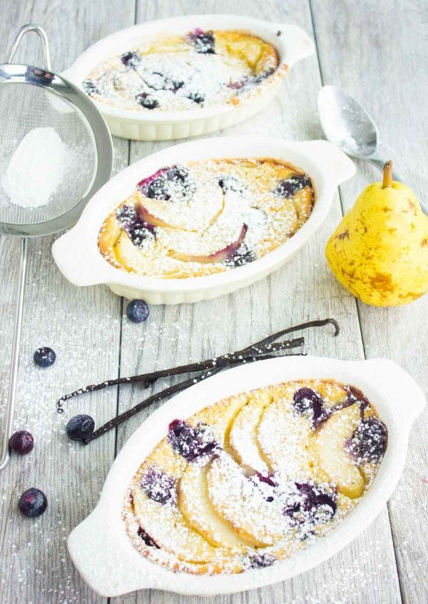Pear Blueberry Vanilla Clafoutis--A fancy French dream deesert made easy, light and fresh!