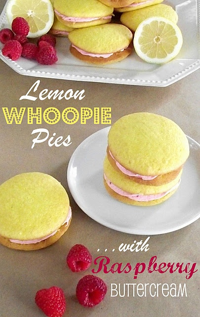 Lemon whoopie pies with raspberry buttercream-yum! gonna have to try since I got a whoopie pie pan for christmas