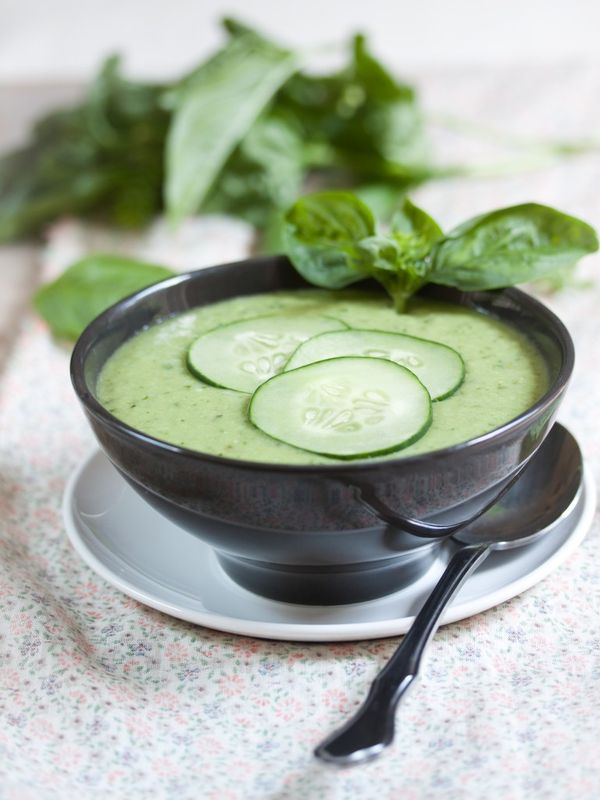Cucumber Basil Avocado Gazpacho! Delicious, cooling, flavorful, healthy.