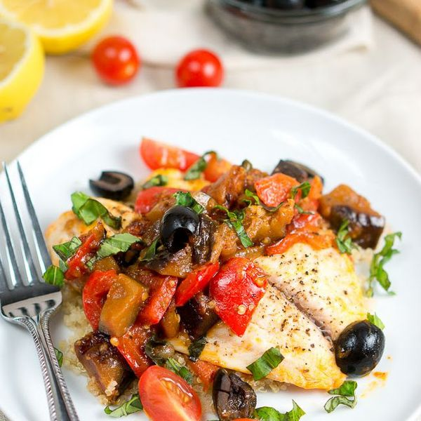One Skillet Tilapia Caponata Recipe Main Dishes with olive oil, yellow onion, red bell pepper, eggplant, cherry tomatoes, garlic cloves, capers, olives, tomato purée, tomato paste, coconut sugar, balsamic vinegar, red pepper flakes, salt, pepper, tilapia fillets, lemon juice, basil