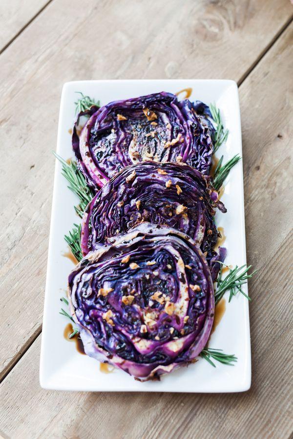 balsamic glazed purple cabbage steaks