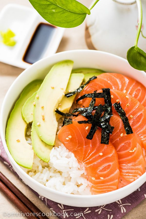 Salmon Sashimi Bowl with Avocado | omnivorescookbook.com @OmnivorCookbook