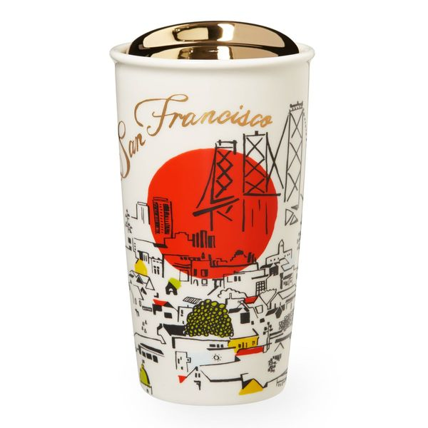 A double-walled, ceramic travel mug depicting San Francisco's classic landmarks, rolling hills and diverse neighborhoods, part of the Starbucks Dot Local Collection.