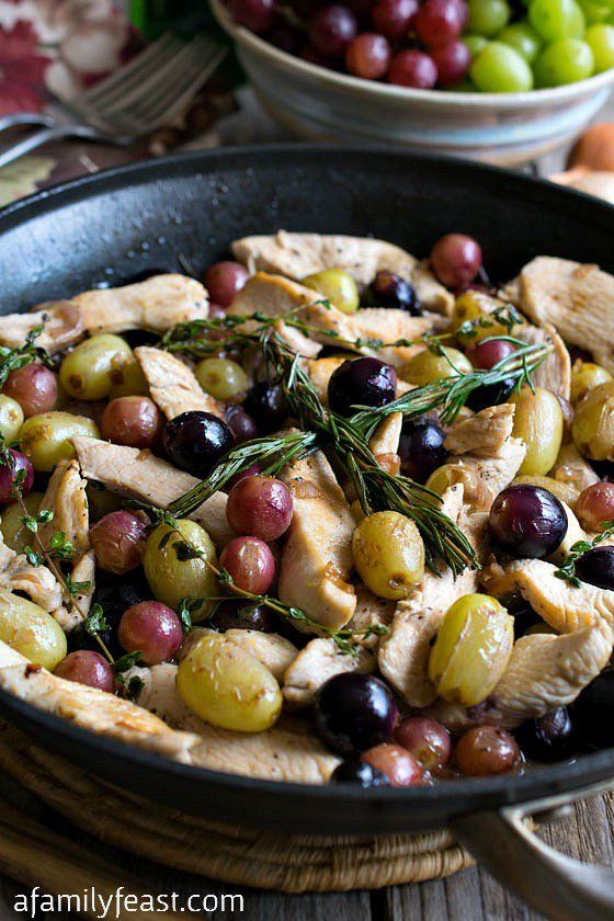 Quick Skillet Chicken with Grapes - A delicious, weeknight meal!  Something magical happens to grapes when they are pan-roasted!