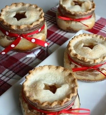 how cute are these!!! -Apple Surprise Mini Pies -- so simple, and make them your own, add a different fruit for the pie! :):) -- perfect for little party favors!