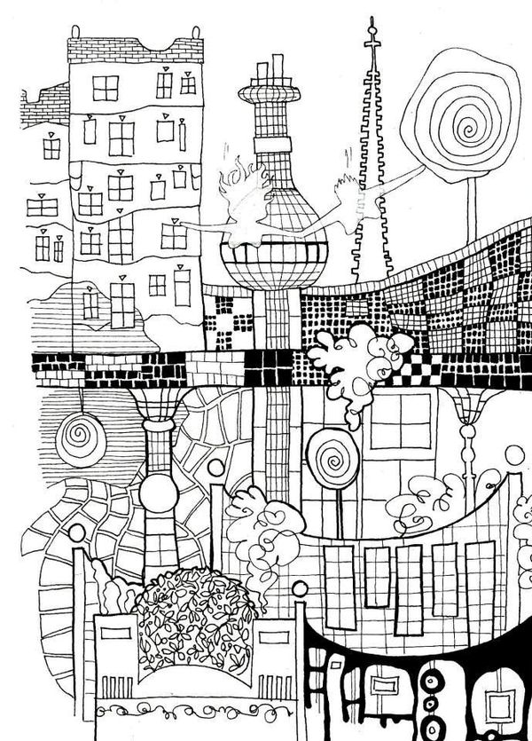 Cityscapes Coloring Pages For Adults