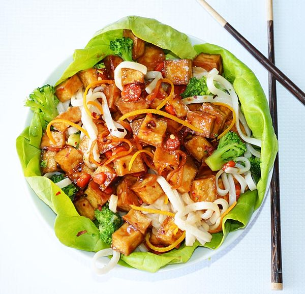 Orange Peel Crispy Tofu Lettuce Wraps