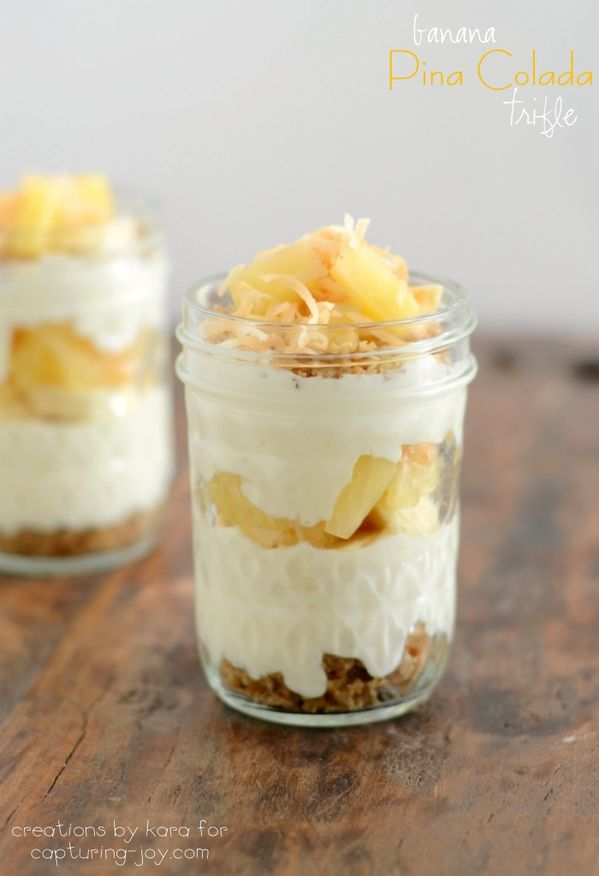 Tropical Trifles with pineapple and bananas!  So yummy and easy to make!