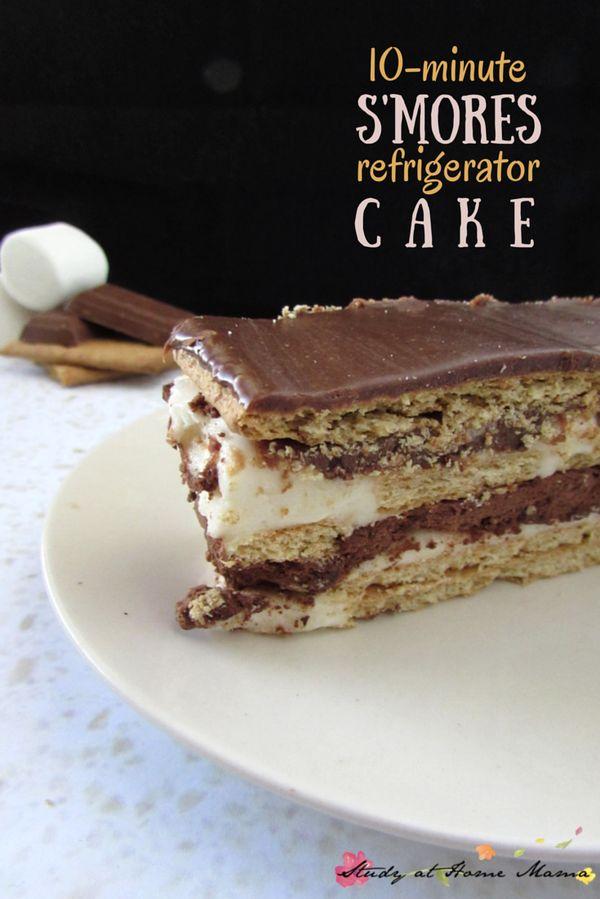 10-Minute S'mores Refrigerator Cake ⋆ Study at Home Mama