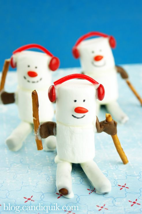Marshmallow Olympic Skiers - so cute!