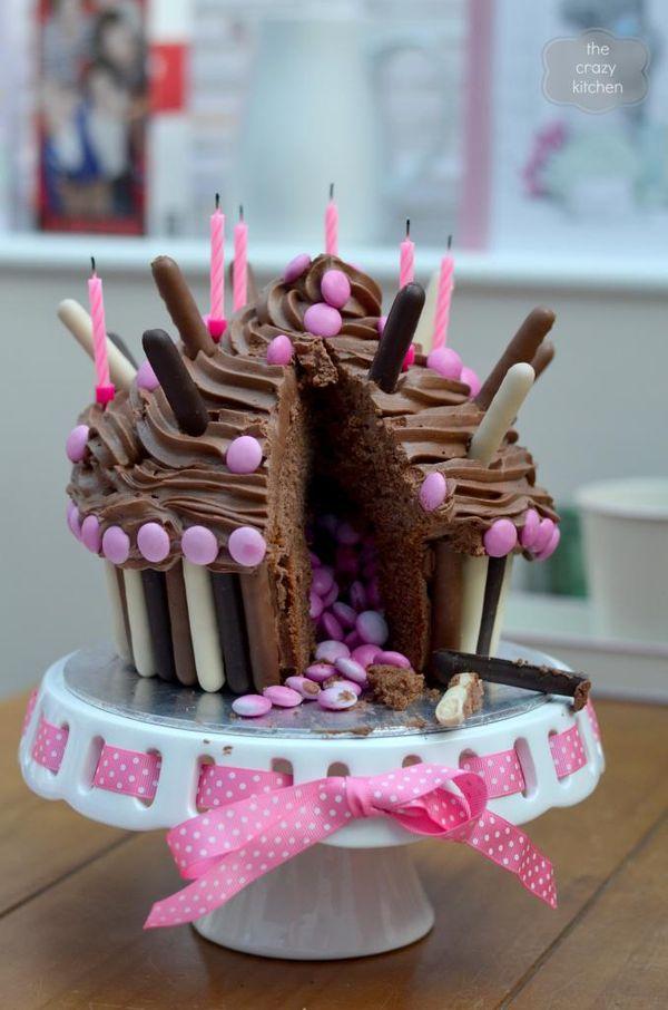Giant chocolate cupcake with smarties inside