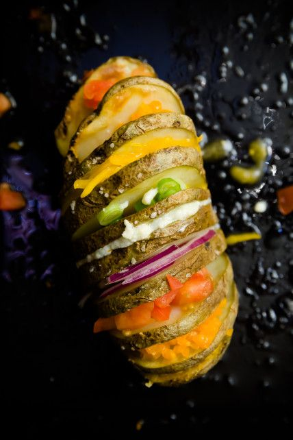 Rainbow Hasselback Potatoes -- beautiful!