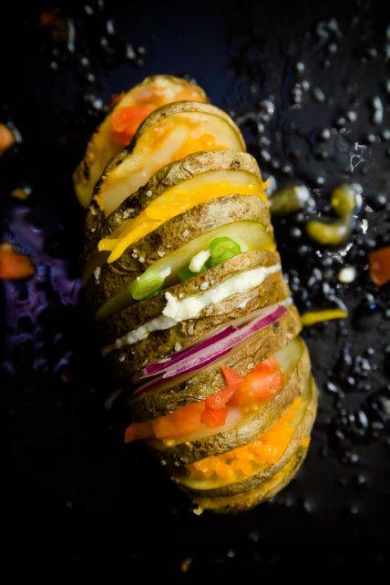 Rainbow Hasselback Potatoes -- beautiful!