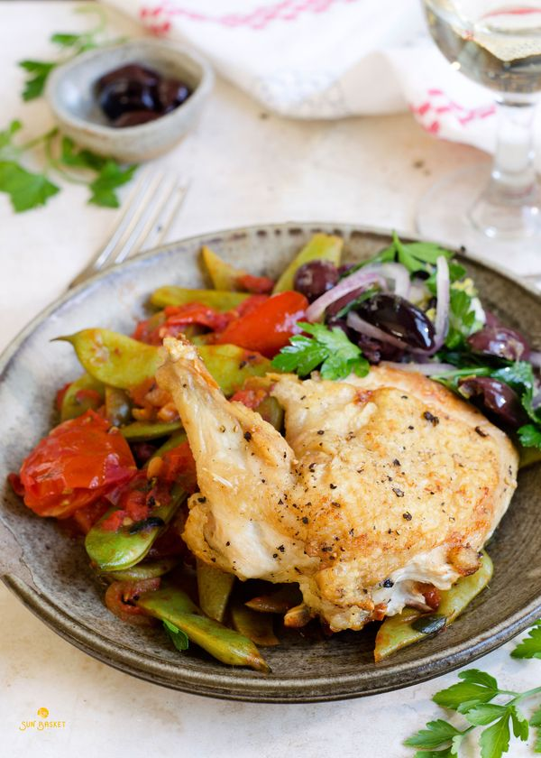 Roasted chicken with braised romano beans and tomatoes #paleo #glutenfree