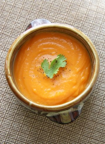 Sweet Potato Carrot Soup. Can be served hot, or cold for a summer day.