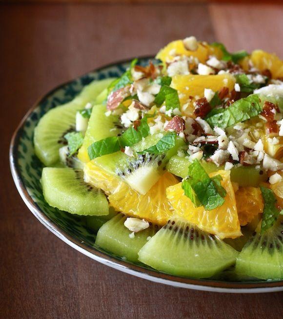 Orange & Kiwi Fruit Salad with Honey-Ginger Dressing