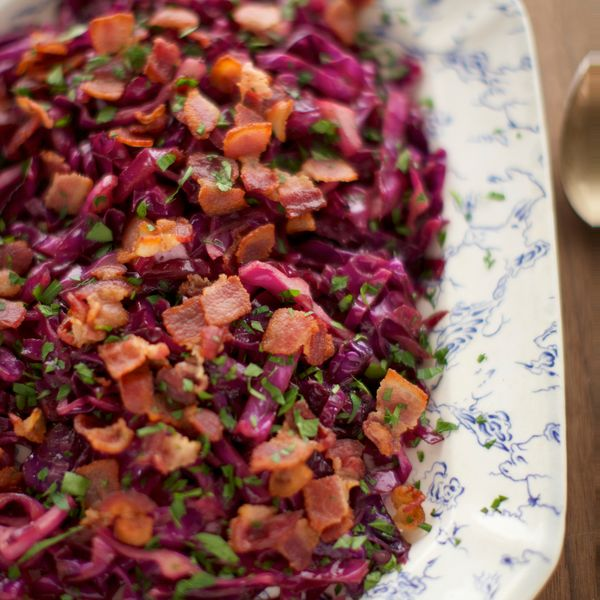 A jot of apple cider vinegar brings this rich red cabbage and bacon recipe into perfect balance.