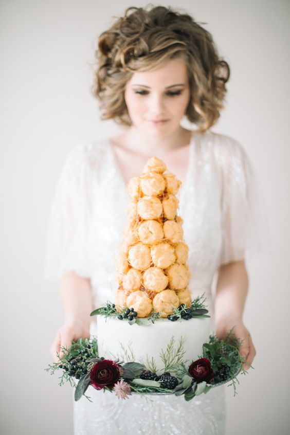 Croquembouche cake | Carrie King Photography | see more on: http://burnettsboards.com/2014/12/whimsical-elegant-bridal-inspiration/