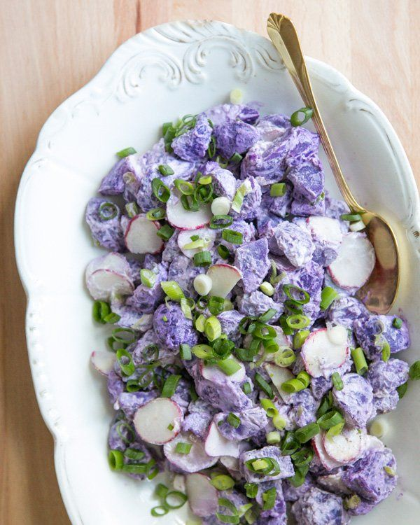 Purple Potato Salad. This picture is just so gorram pretty I had to pin it ... :)  Courtesy of A Couple Cooks.