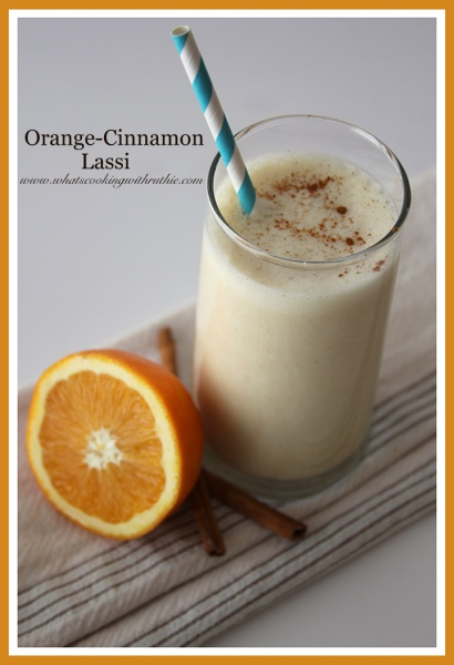 Orange-Cinnamon Lassi is a delightful, healthy, simple beverage!  by whatscookingwithruthie.com #recipes #beverages #smoothie