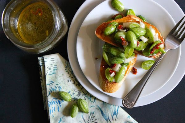 Appetizing Cucamelon Bruschettaon toasted garlic crostini. It's really refreshing and vegetarian friendly, check it out.