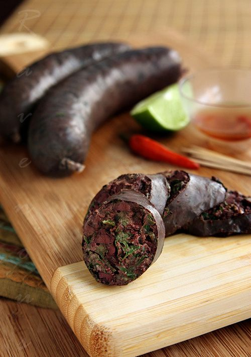 Portuguese blood sausage If you eat this you are a true Portuguese...  Love this stuff called Morcela.