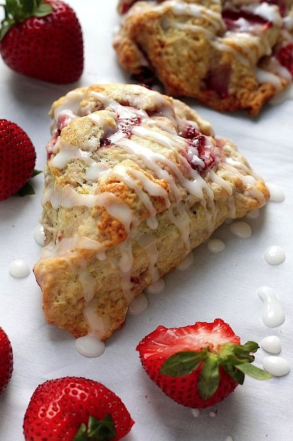 Fresh Strawberry Scones with Lemon Glaze - you're going to LOVE these flaky, buttery, and oh so crispy strawberry packed scones!