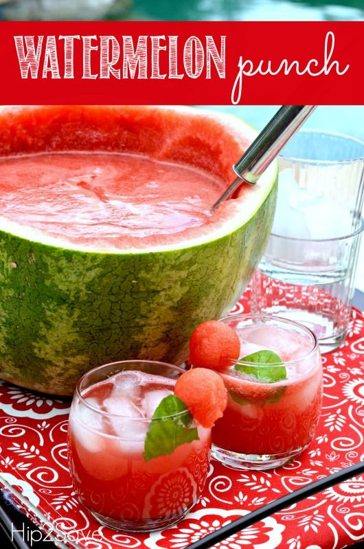 Watermelon Punch Recipe by Hip2Save.com  http://hip2save.com/2014/07/17/watermelon-punch-recipe/