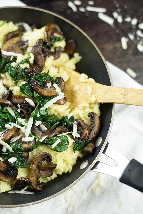 Creamy Risotto with Mushrooms recipe - arborio rice with parmesan cheese, mushrooms, spinach and a splash of white wine.