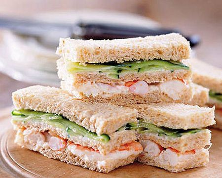Dainty Finger Sandwiches Recipes | Mother's Day high tea recipes - Prawn and pickled cucumber sandwich ...