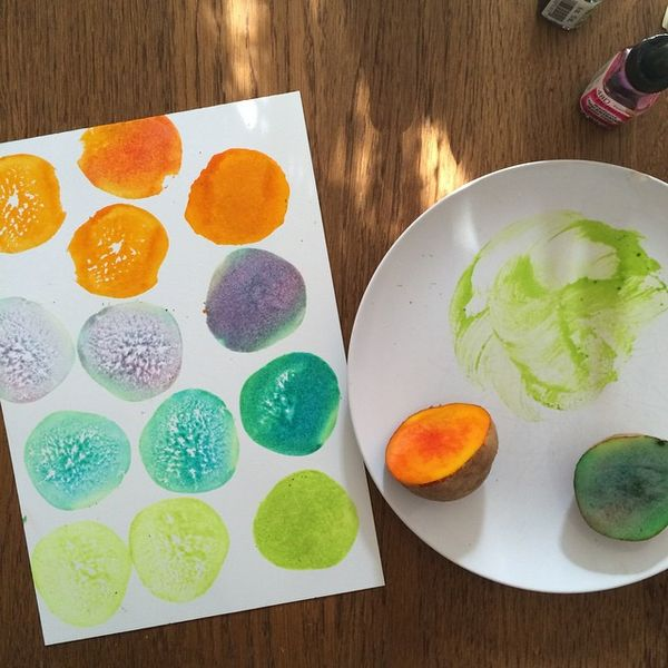 Potato Stamping, process for our Luna pattern