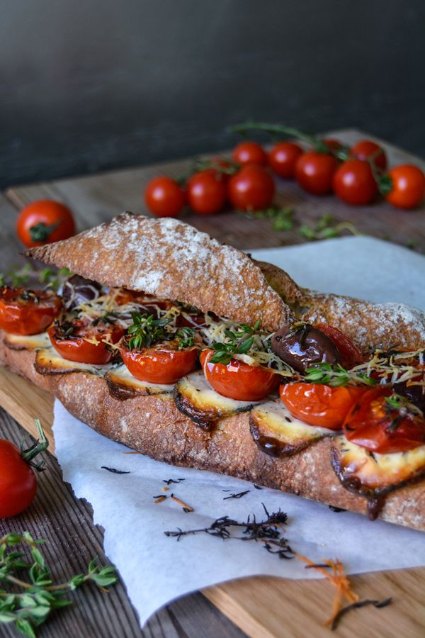 Grilled Tomato, Chèvre and Thyme Baguette Sandwich ° eat in my kitchen