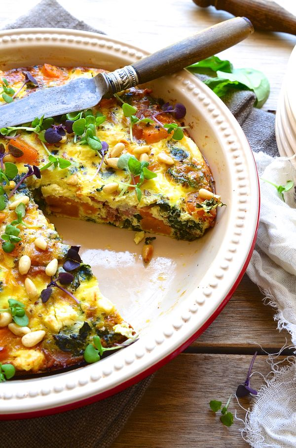 butternut squash,spinach and leek crustless quiche with feta and pine nuts