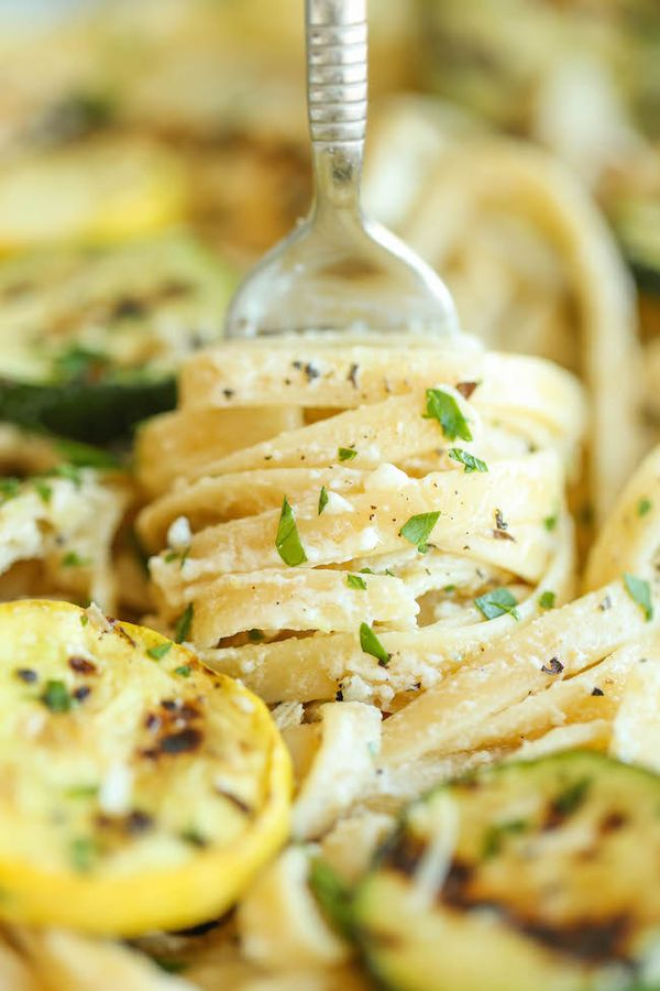 Garlic Butter Fettuccine with Chicken and Zucchini - So buttery, so garlicky, and just so creamy! Made with lemon-herb chicken and crisp-tender zucchini.