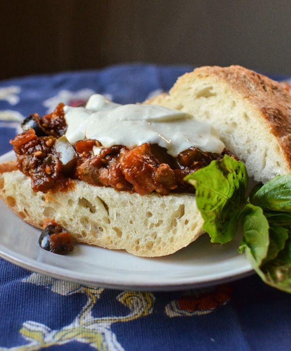 Recipe: Eggplant Caponata Sandwiches with Mozzarella & Basil — Recipes from The Kitchn - 529 calories