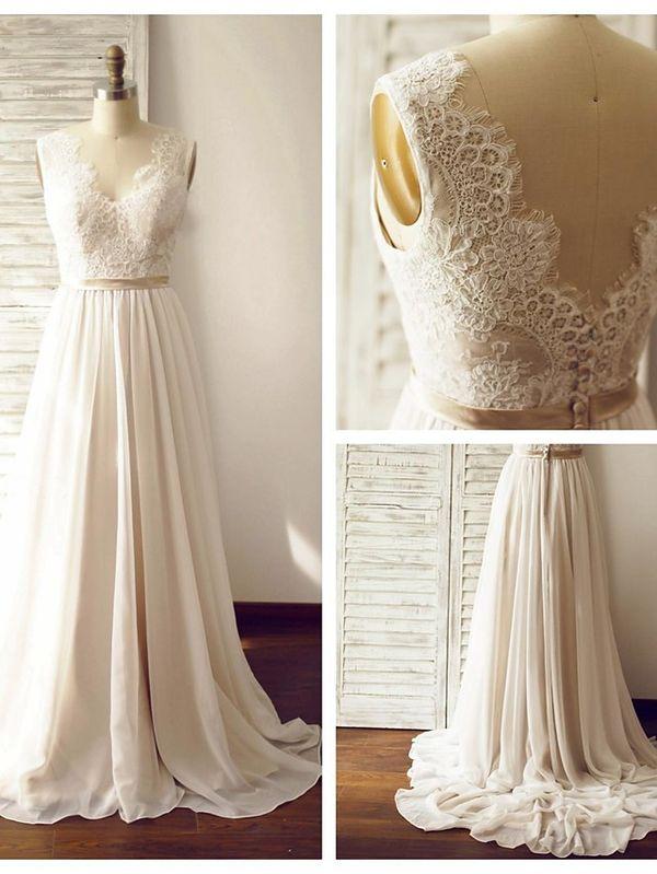 A-line Wedding Dress - Champagne Court Train V-neck Chiffon / Lace - USD $ 129.99