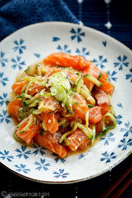 marinated salmon sashimi salad with miso dressing....ugh I miss salmon sushi every week...