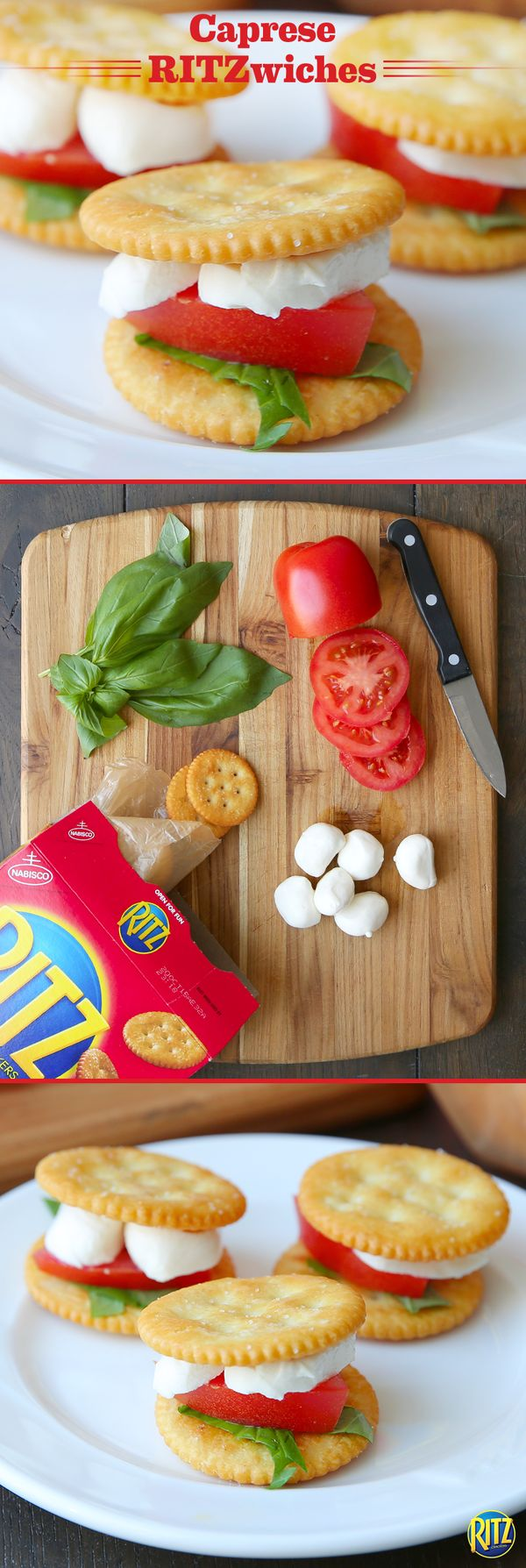 Our RITZ cracker Caprese Bites are a great afternoon snack for a warm summer day! Layer RITZ original crackers with mozzarella cheese and bake until melted. Top with slices of plum tomatoes and a basil leaf. For extra flavor, spread pesto onto the cheese before topping with additional ingredients. It's that easy!