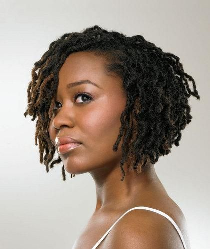 Asymmetrical bob locs hairstyle