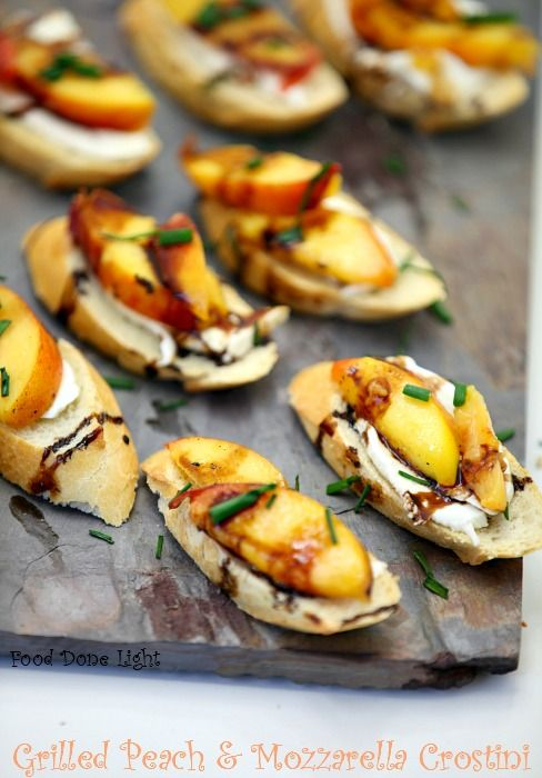 Simple and healthy! Grilled Peach and Mozzarella Crostini www.fooddonelight.com