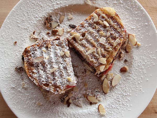 Dessert Panini   Also use raisin bread, cream cheese, Apple slices and sprinkle with cinnamon and sugar   Wheat bread, peanut butter and banana slices