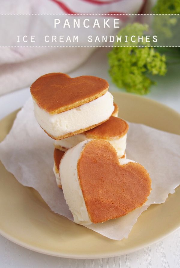Pancake Ice Cream Sandwiches -- perfect for Valentine's Day Breakfast! Make the night before, and enjoy the next morning as a breakfast in bed!